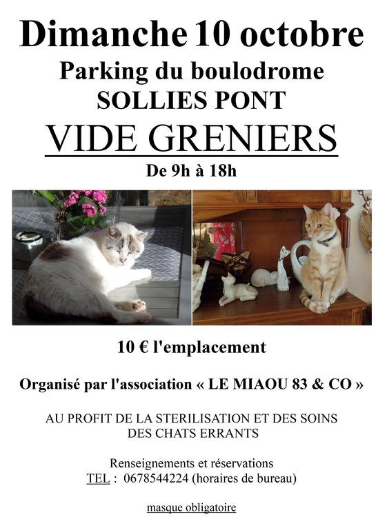 Vide-greniers Le Miaou  Parking du boulodrome - Solliès-Pont