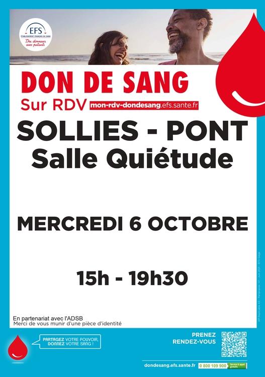 Collecte de sang  Salle quiétude - Solliès-Pont