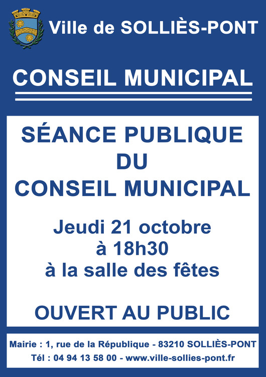 Conseil municipal Conseil municipal Salle des fêtes - Solliès-Pont